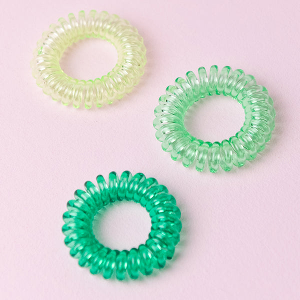 Green Ombre Spiral Hair Ties (Set of 3)