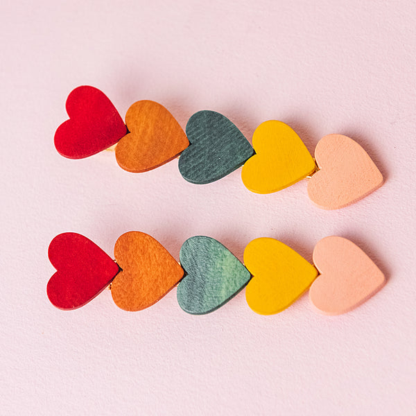 Rainbow Wooden Heart Clips (Set of 2)