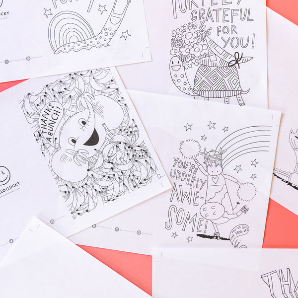 Hello!Lucky Thank You Cards & Placemat, FREE PDF Printables