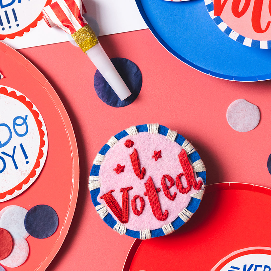 I Voted Pins, PDF Embroidery Pattern
