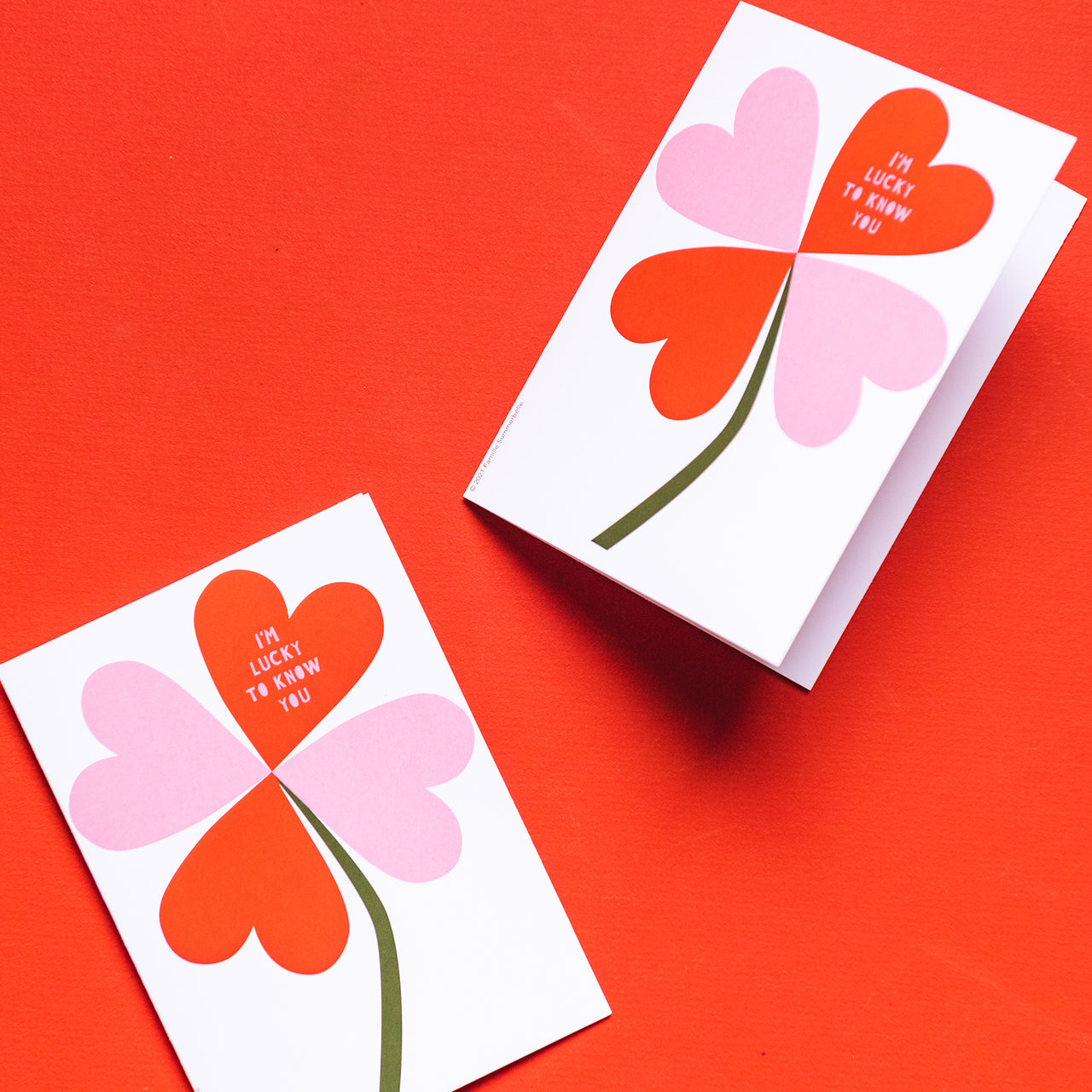 I'm Lucky to Know You Valentine Card by Julie Marabelle of Famille Summerbelle, PDF Printable