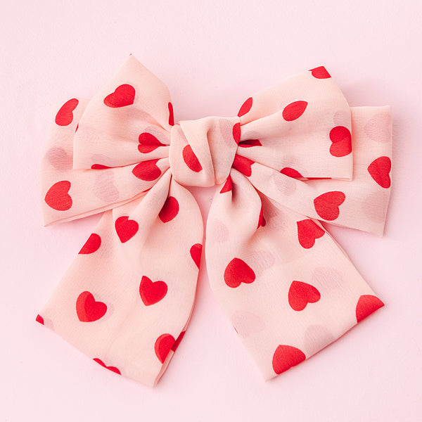 Pink Valentine's Heart Bow Barrette