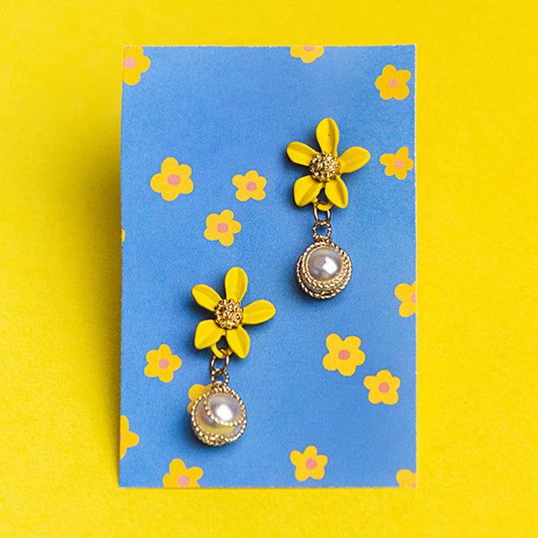 Yellow Flower and Pearl Drop Earrings