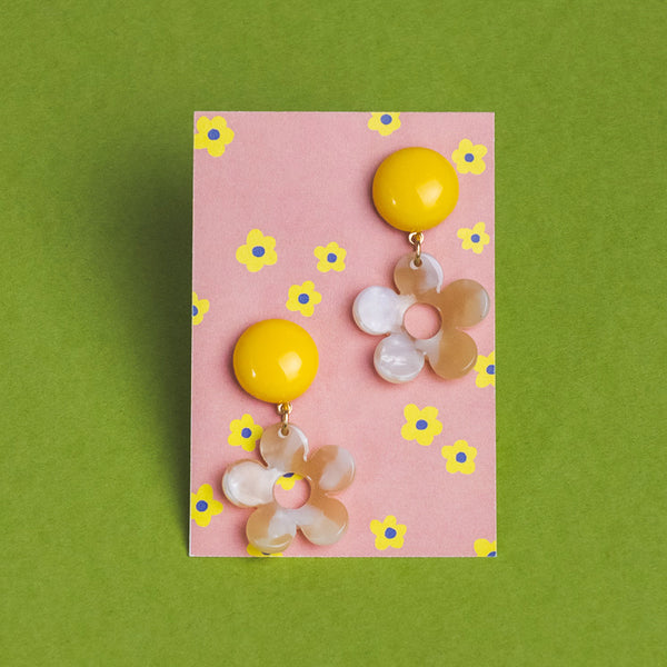 Pearled Drop Daisy Earrings