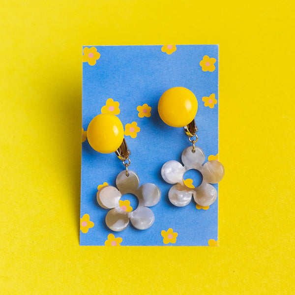 Pearled Drop Daisy Clip-On Earrings