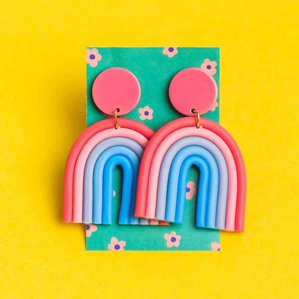 Pink-Blue Gradient Rainbow Earrings