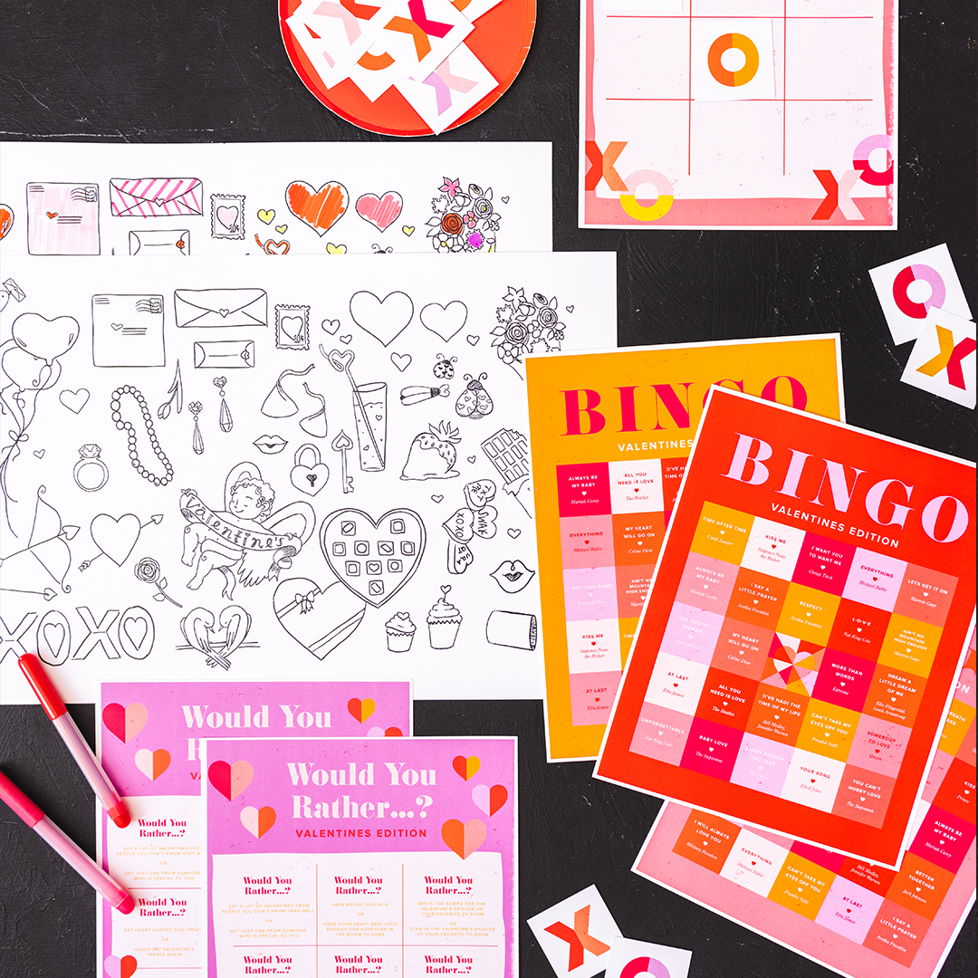 Valentine's Day Table Games, PDF Printable