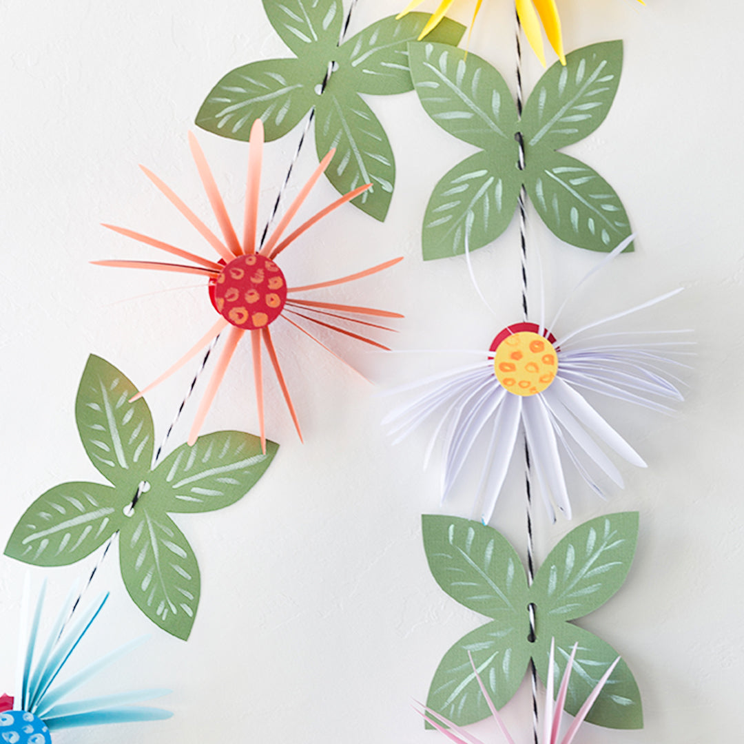 Paper Flower Garland Leaf, PDF Template