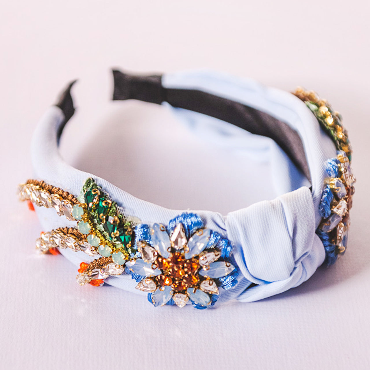 Adorned Light Blue Knotted Headband