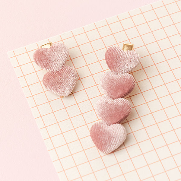 Light Pink Velvet Heart Clip Set (Set of 2)