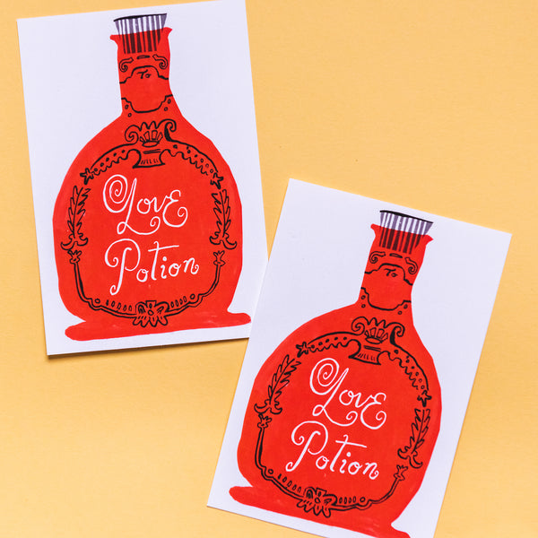 Love Potion Valentine One-Sided Card by Danielle Kroll, PDF Printable