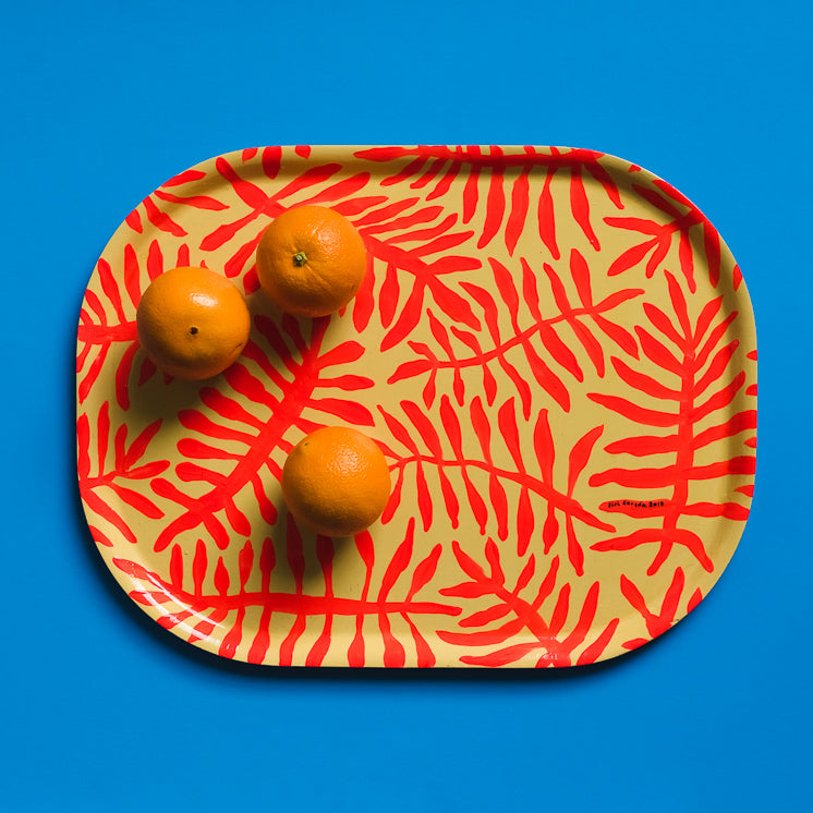 Hand-painted Tray - By Siri Carlen (red pattern)