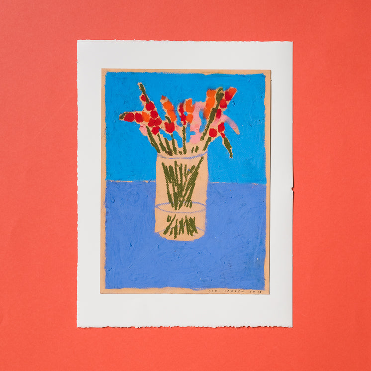 Original Pastel Still Life - By Siri Carlen (pink, red, orange flowers in vase)