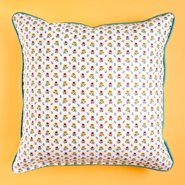 Custom Designer Pillow - Red, Yellow, Pink Floral