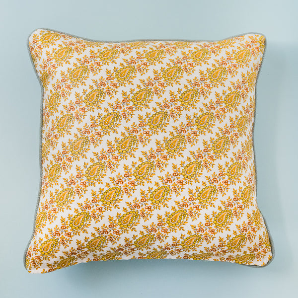 Custom Designer Pillow - Yellow Floral Paisley
