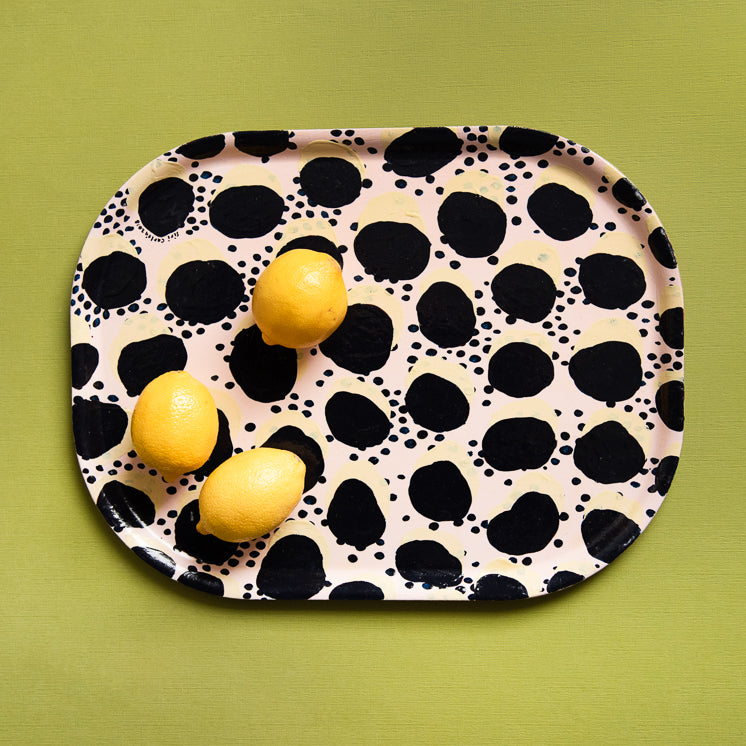 Hand-painted Tray - By Siri Carlen (black pattern)