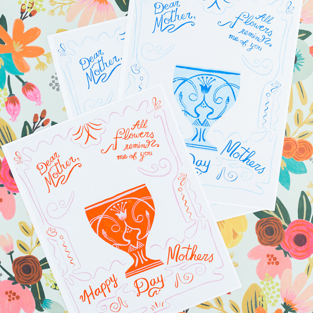 Mother's Day Vase Cards & Flower Template, PDF Printable