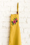Mustard Apron - Embroidered Camellia Flower