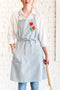 Blue Apron - Embroidered Poppy Flower