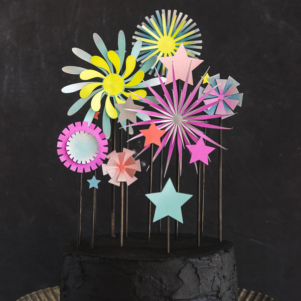 Paper Firework Cake Topper, SVG Template