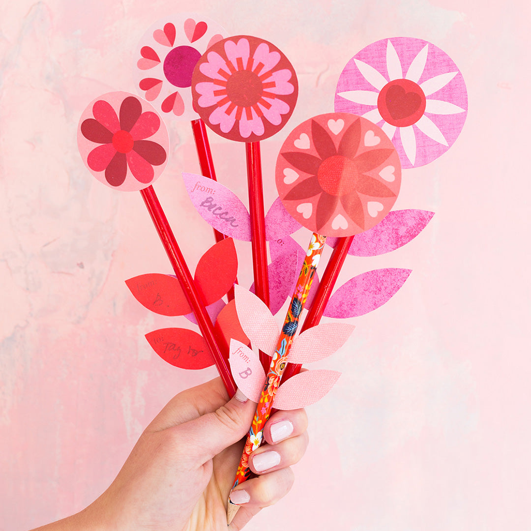 Flower Pencil Valentines, PDF Printable