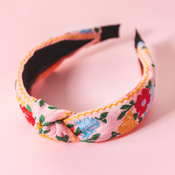 Knotted Pink Embroidered Headband blue red yellow green