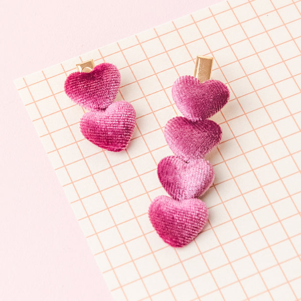 Dark Pink Velvet Heart Clip Set (Set of 2)