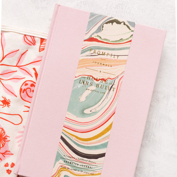 Blush Promptly Journal + Pink Leaves and Bugs Blanket, Set