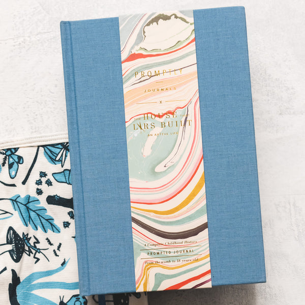 Chambray Promptly Journal + Blue Leaves and Bugs Blanket, Set