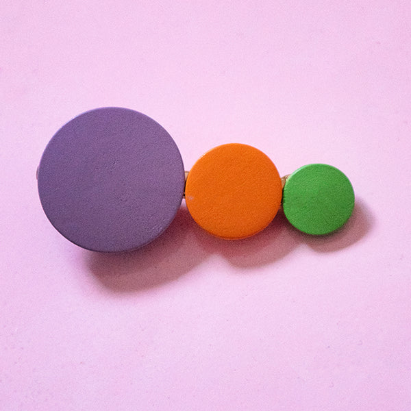 Purple Wooden Rainbow Circle Hair Clip