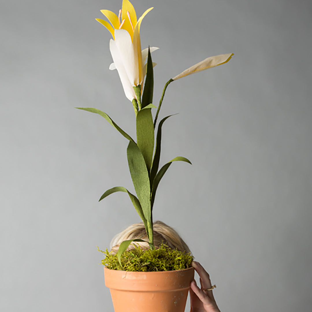 Potted Paper Easter Lily, PDF Template