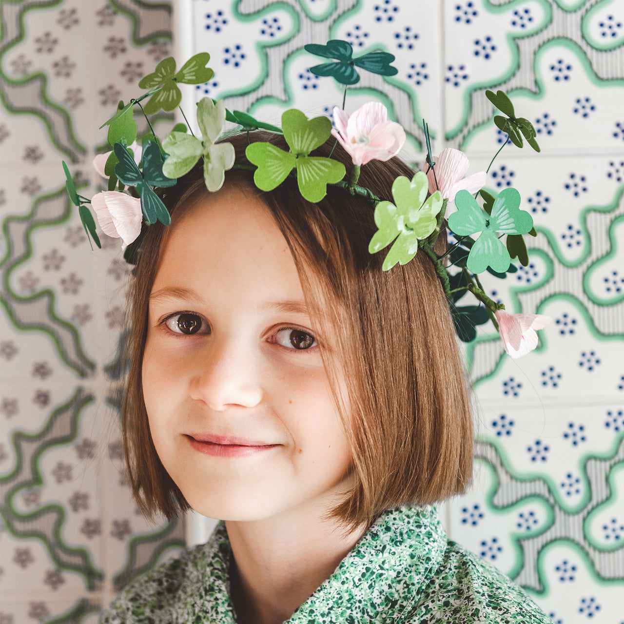 Shamrock Paper Flower Crown, SVG & PDF Template