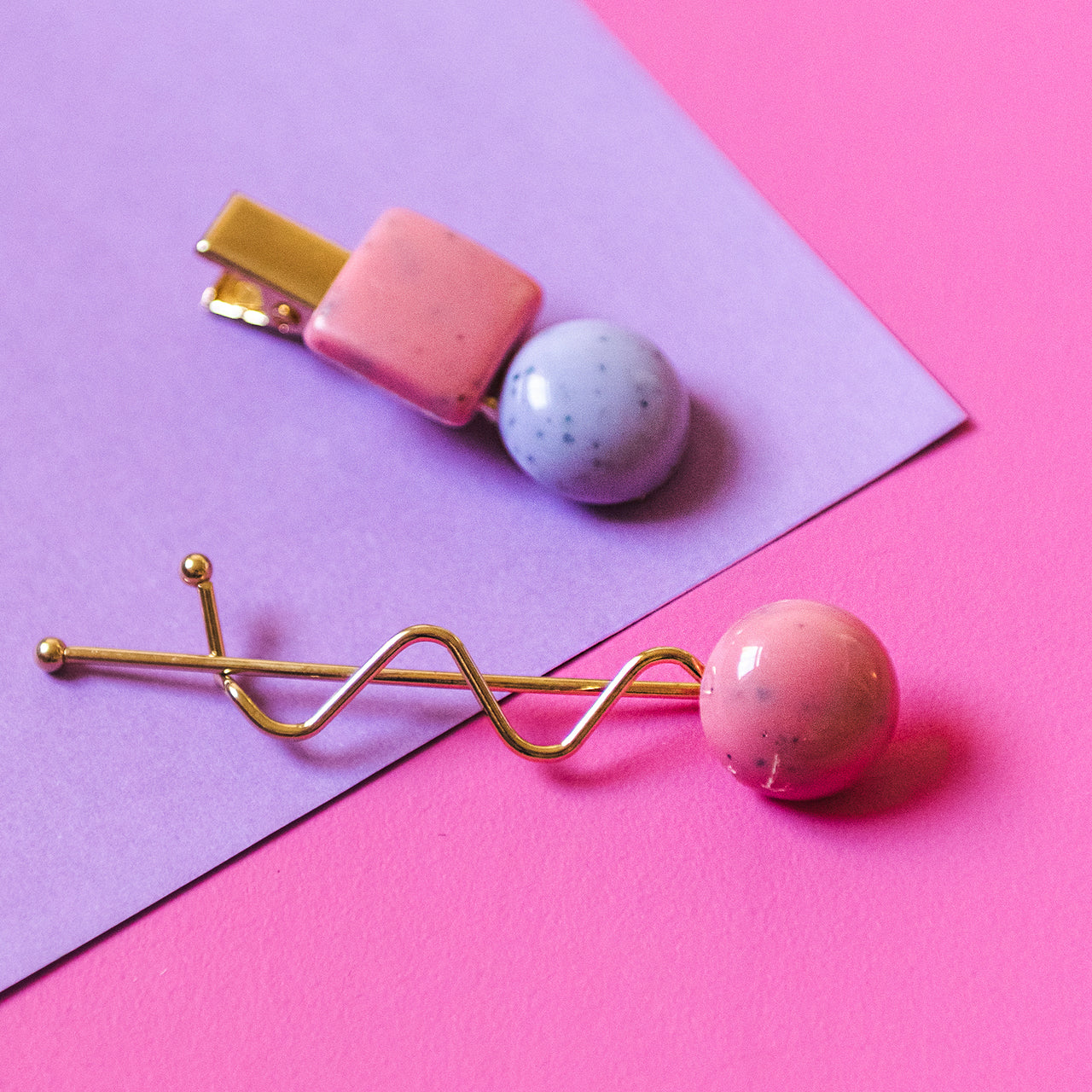 Pink & Lavender Speckled Bobble Hair Clip & Hair Pin Set