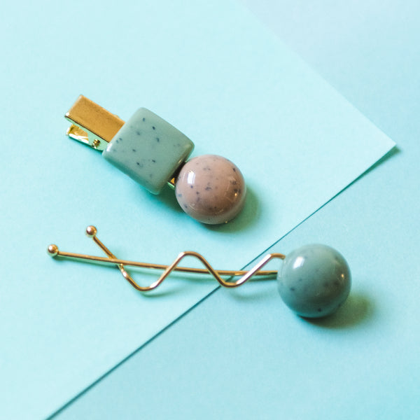 Taupe & Mint Speckled Bobble Hair Clip & Hair Pin Set