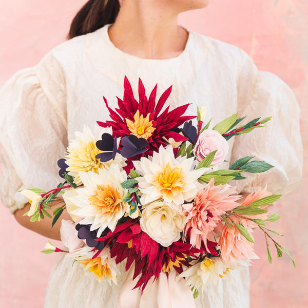 Summer Paper Flower Wedding Bouquet Kit + Video Tutorial