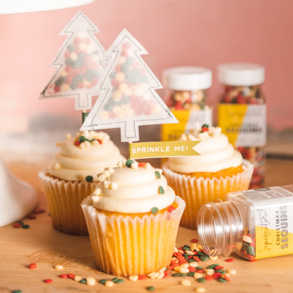 Sprinkle Me Christmas Tree Cupcake Toppers, PDF Template