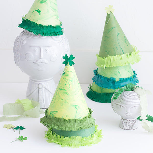 Marble Shamrock Party Hat, SVG & PDF Template