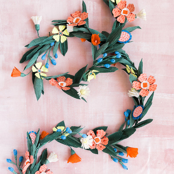 Summer Flower Garland, SVG & PDF Template