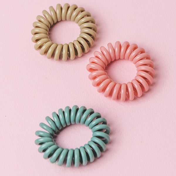Tan, Blue & Pink Spiral Hair Ties (Set of 3)