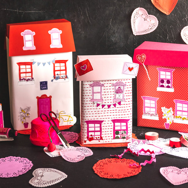 Valentine Box House Stickers, PDF Printable