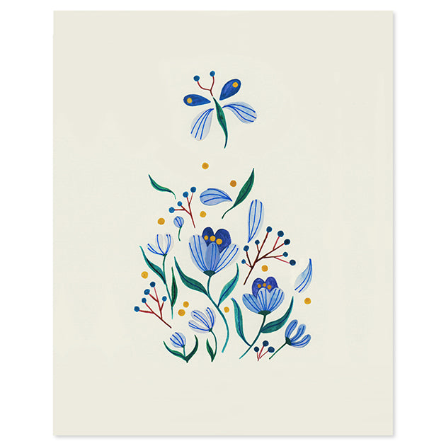 Seven Flowers Print by Yas Imamura