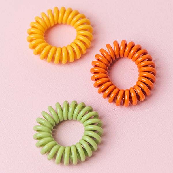 Yellow, Orange & Green Spiral Hair Ties