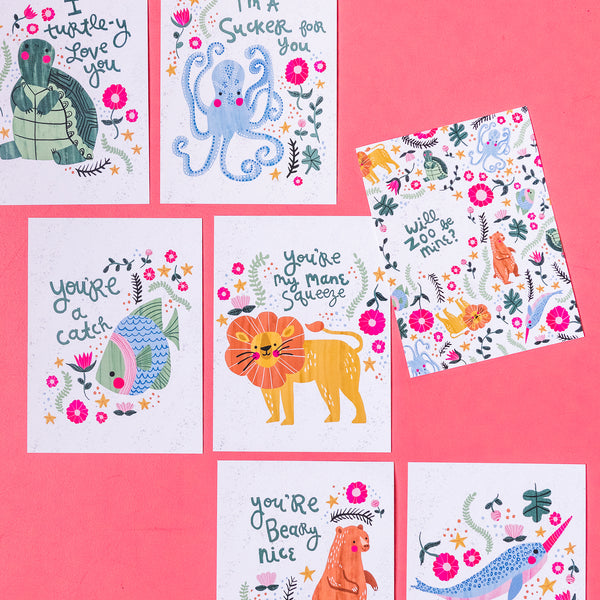 Zoo Valentines by Jess Whittaker, PDF Printable