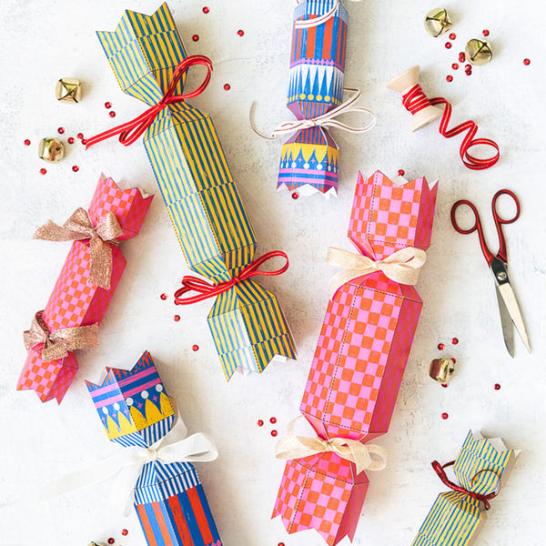 Patterned Christmas Poppers, PDF Printable