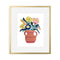 Colored Flowers in Striped Vase Papercut by Julie Marabelle