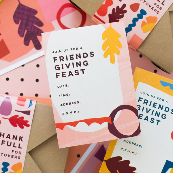 Friendsgiving Invitation (pink), PDF Printable