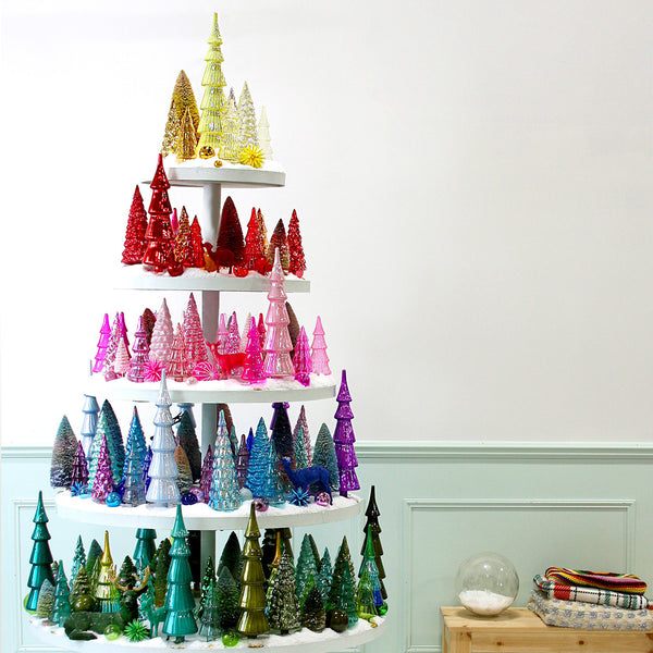 Assorted Glass Christmas Trees (Set of 6)