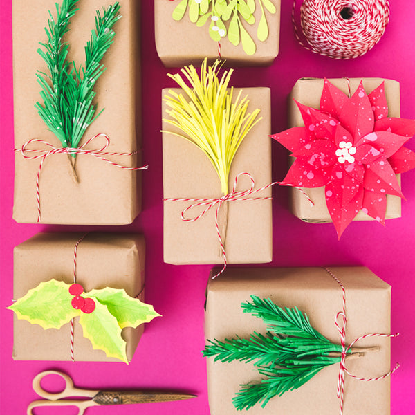 Paper Holiday Greenery Gift Toppers, PDF Template