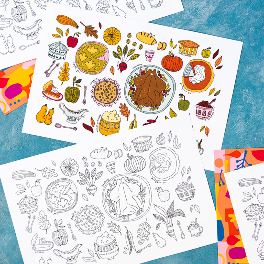Thanksgiving Feast Coloring Placemats, PDF Printable