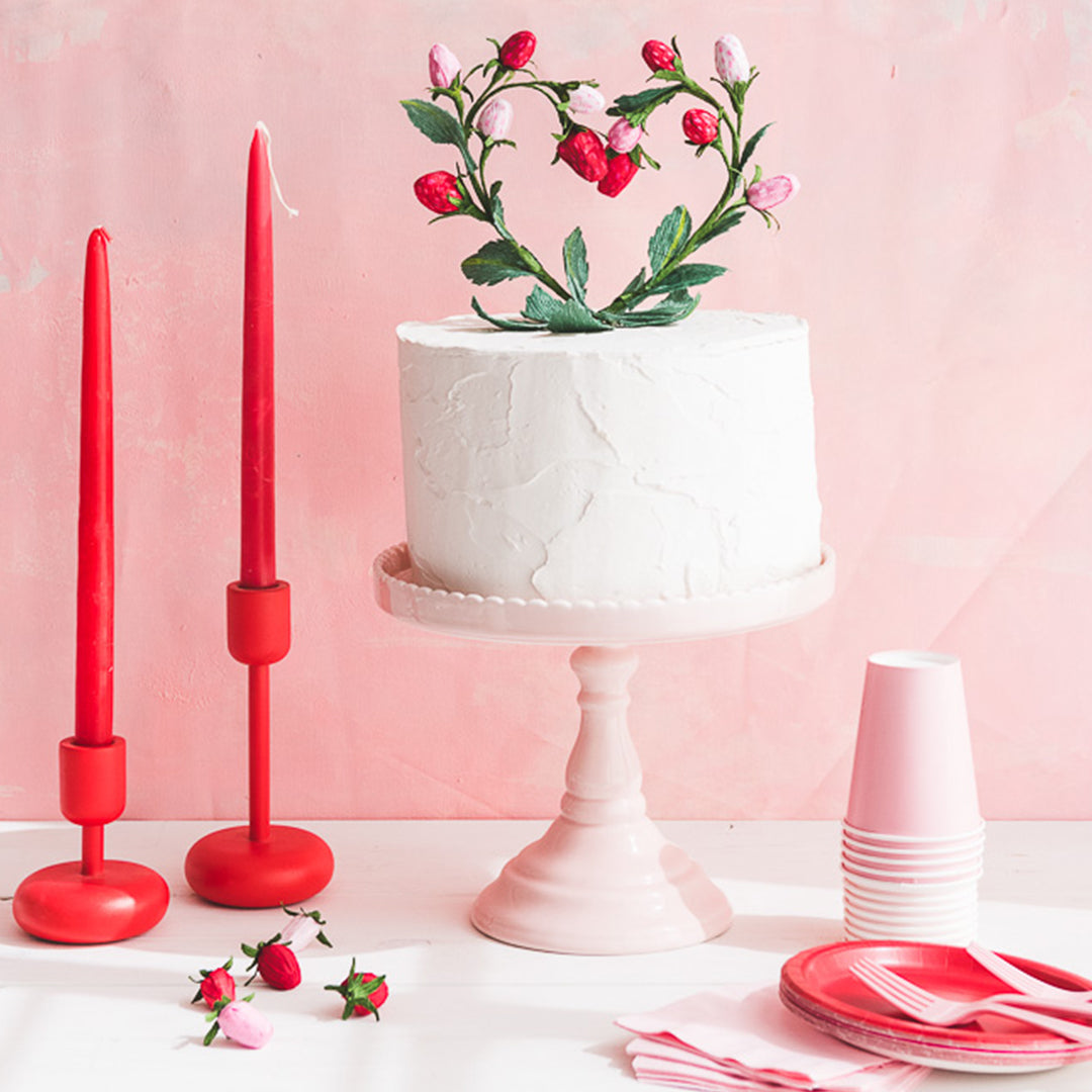 Strawberry Heart Cake Topper, PDF Template